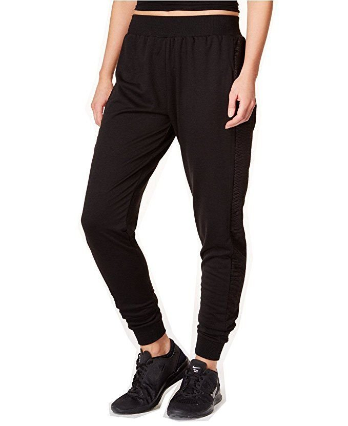 3391e33fc4d94 New Jessica Simpson Juniors  The Warm Up Mesh-Inset Joggers Pants Black  Size M