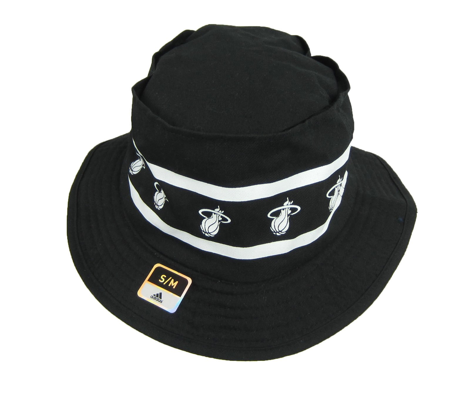 f96309d6634 Adidas NBA Miami Heat Size Small Bucket Hat Black And White ...