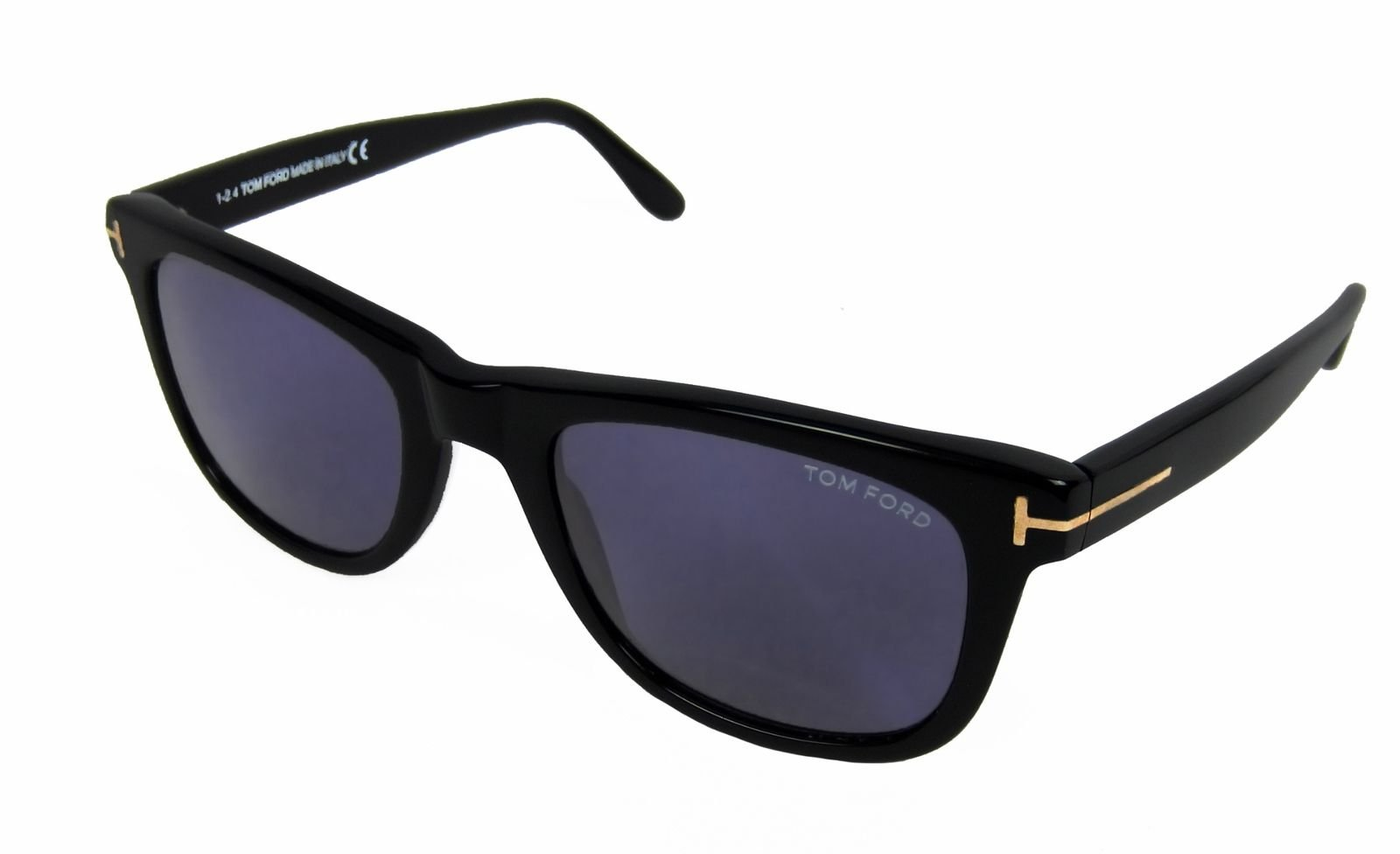 3cc6ce4ab94 Details about Tom Ford Leo Square Sunglasses Black with Gold Accent Blue  Solid Lenses 52 mm
