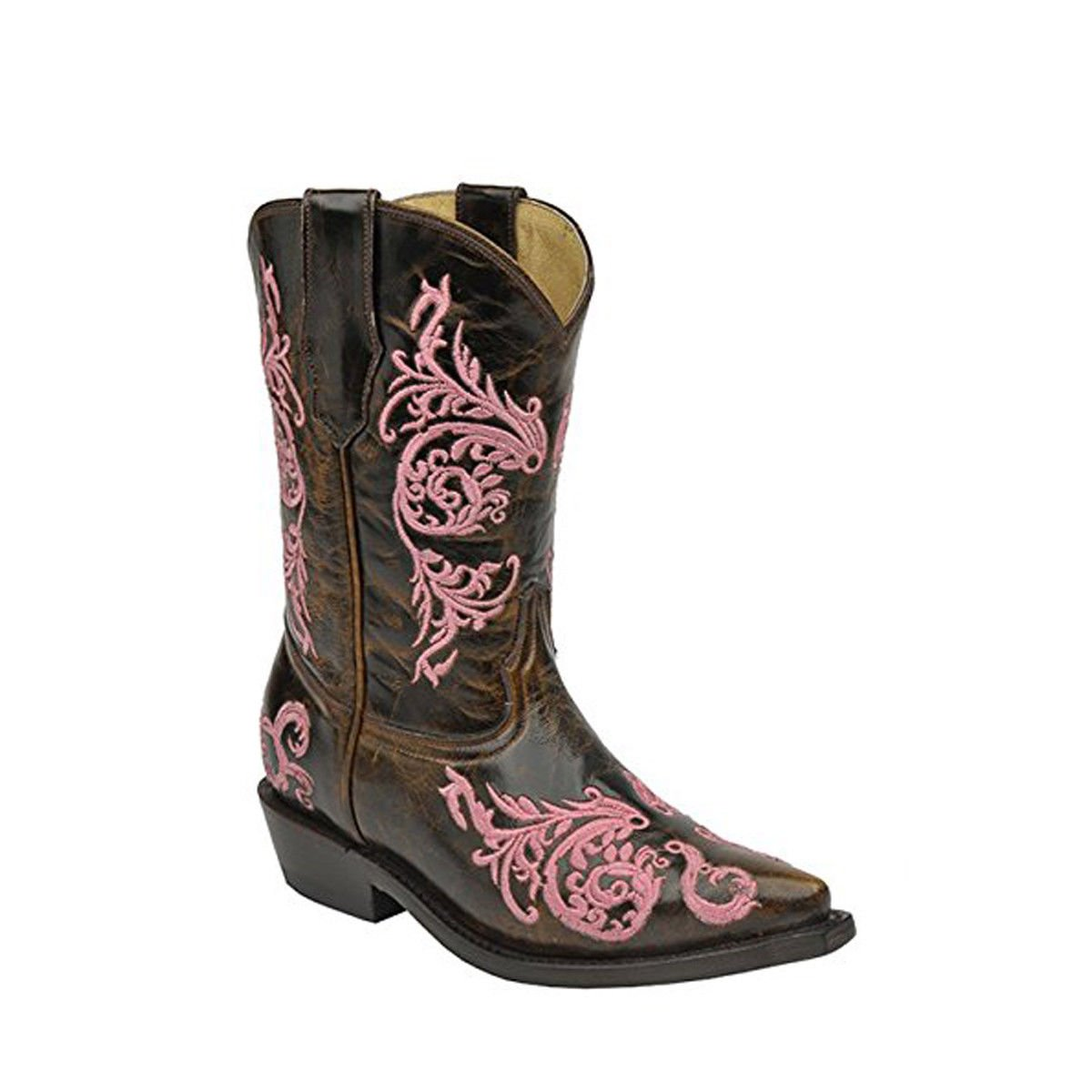 CORRAL Youth Taupe Embroidered Pink Dahlia Snip Toe Cowboy Boots A2962