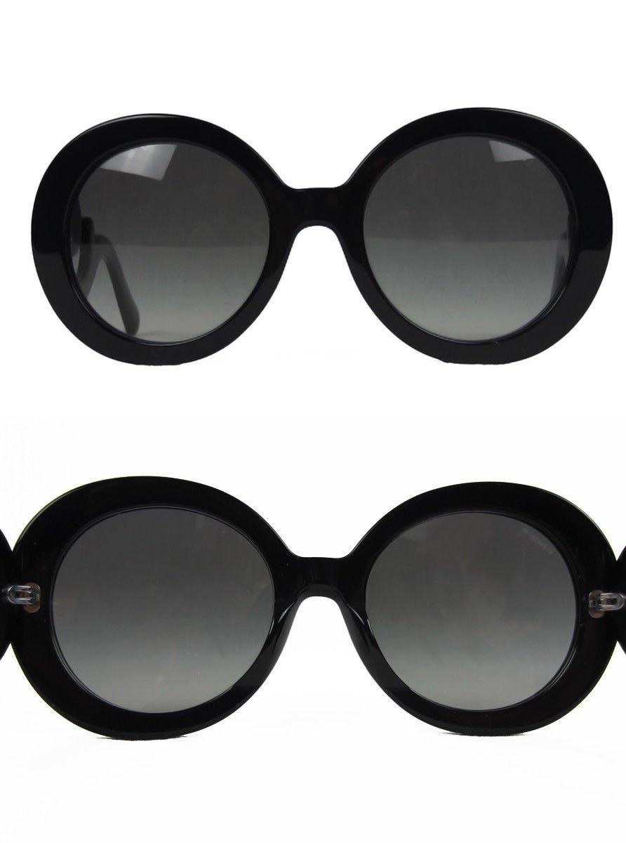 Prada SPR27N Baroque Sunglasses Black Round Frame Dark Grey Gradient Lens  135mm e75e6872e2