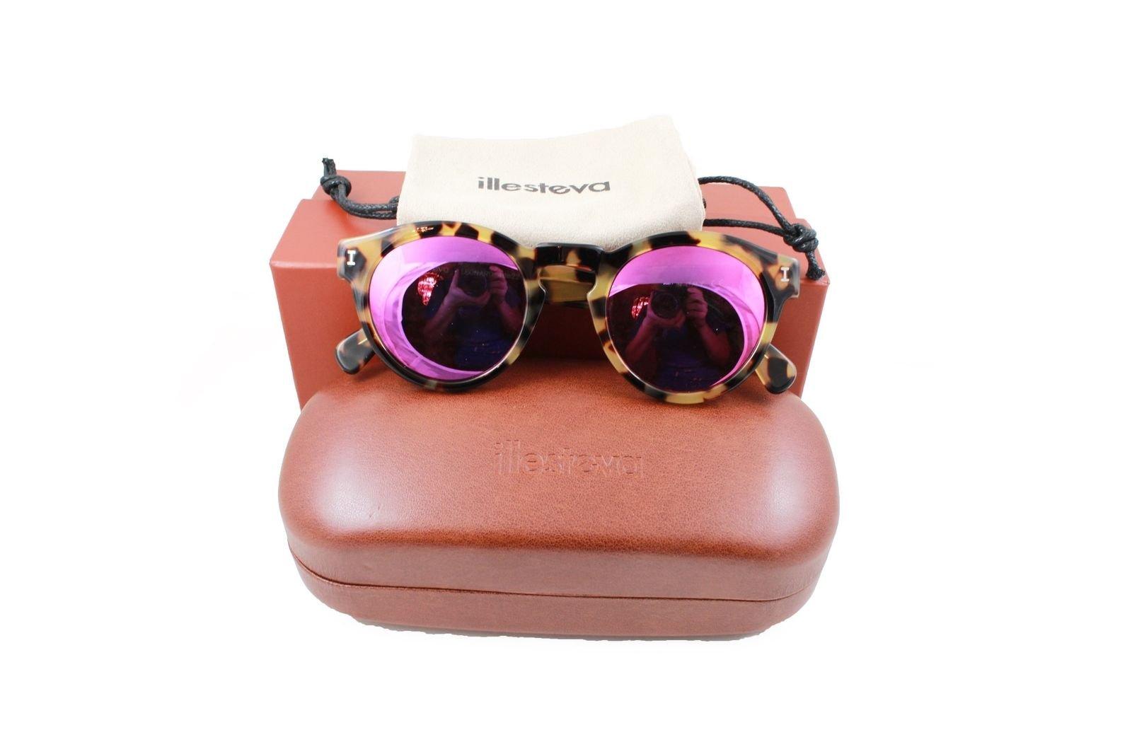 2c834363e44 Illesteva Leonard C.62 Round Sunglasses Tortoise(Havana) Frame Pink Flash  Mirror