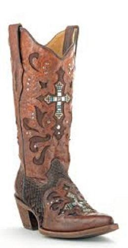 b56aad7556d Details about CORRAL Women's Python Crystal Cross Pointed Toe Cowgirl Boots  C1104
