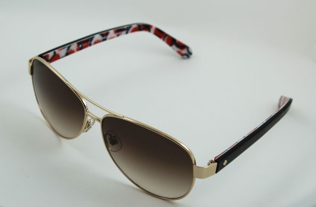 1a355583f623f Details about Kate Spade Dalia s Aviator Sunglasses Gold Red Black and  White Brown Gradient