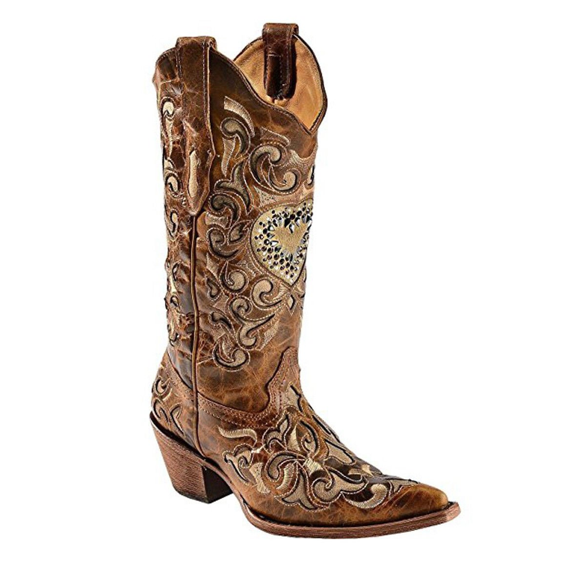 93706d4751f CORRAL Women's Sand Maipo Crystal Heart Pointed Toe Cowgirl Boots ...