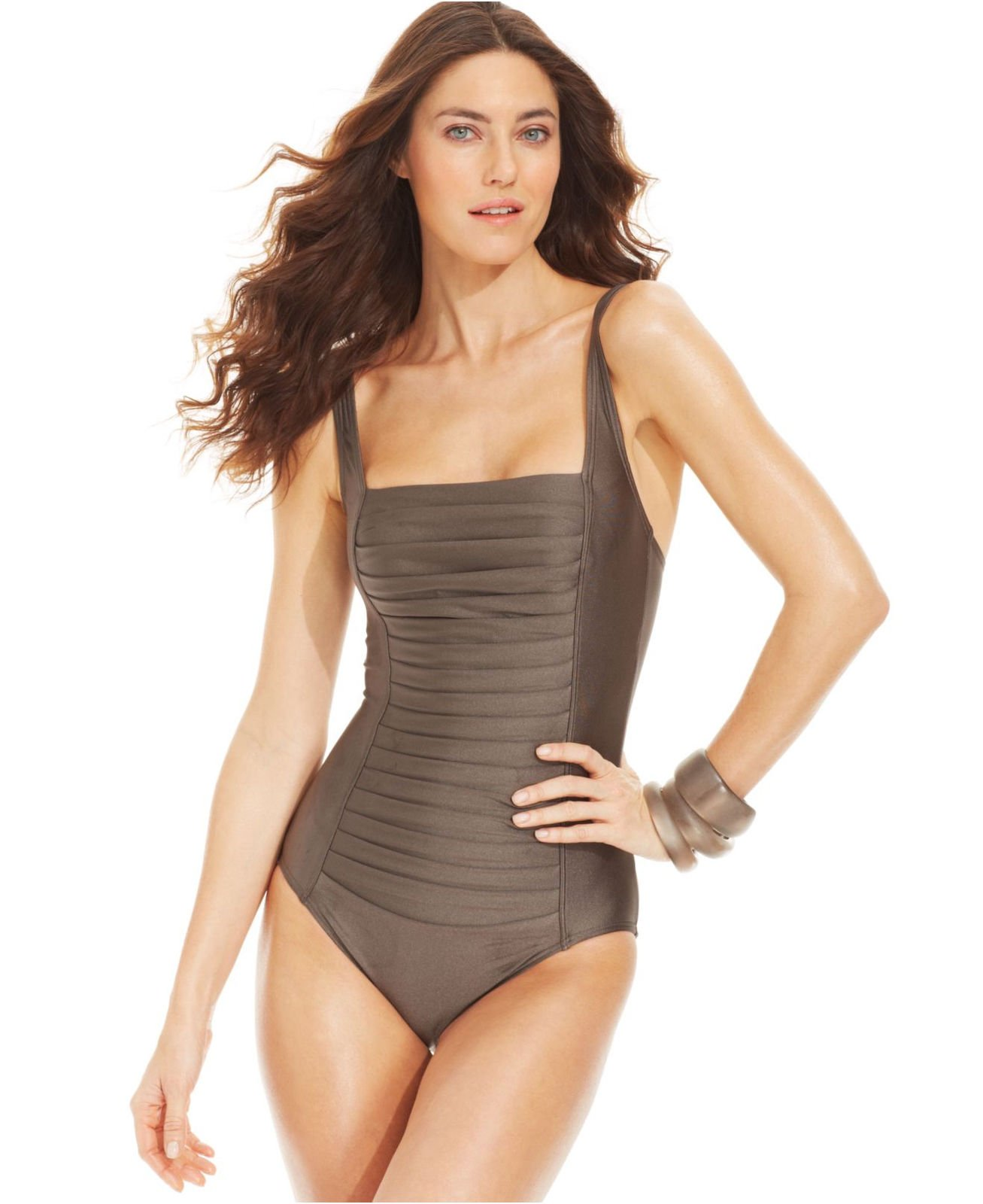a0dbaf98f6 New Calvin Klein Bronze Pleated Ruched Front Panel One-Piece Swimsuit Size  12
