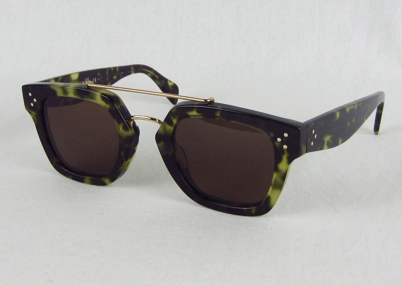 bb15e9057d9f Celine CL 41077 S Bridge Sunglasses Green Havana Tortoise Square  495  Authentic