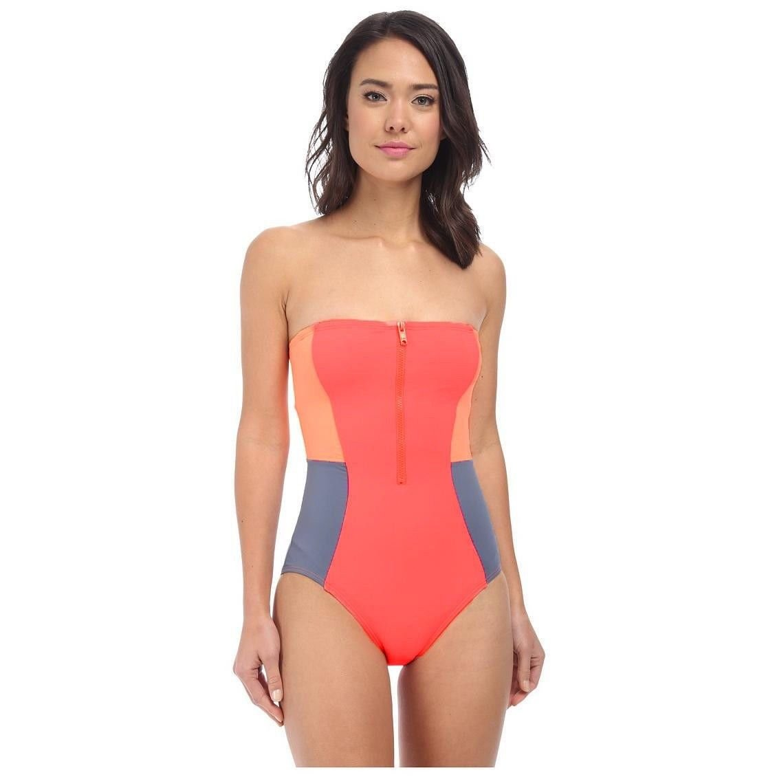 970ead15f Details about NWT DKNY Color Blocked Bandeau Strapless Zip-Front One-Piece  Swimsuit Size 6-12
