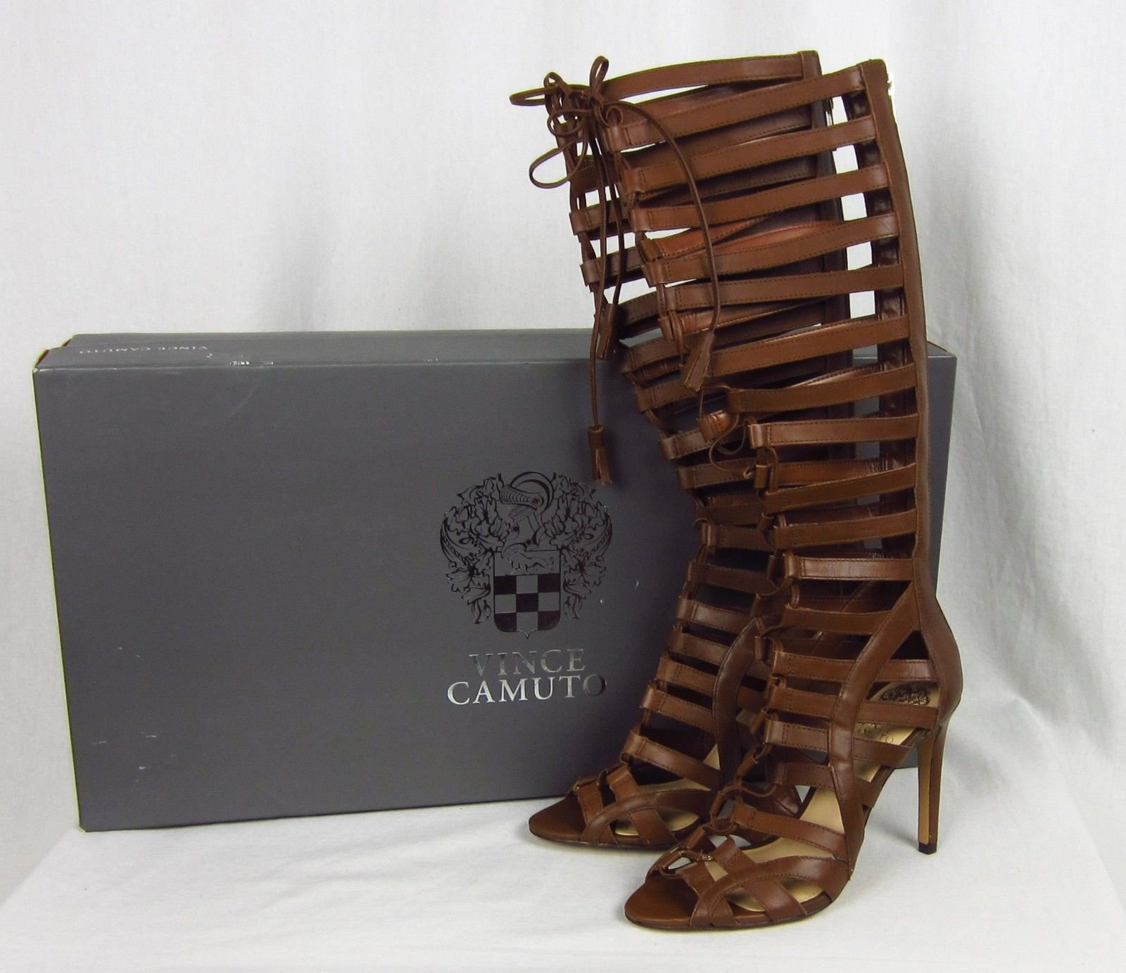 dbfa5e5564a0 Vince Camuto Olivian Tall Gladiator Sandals Stiletto Heel Brown Leather Lace  7.5