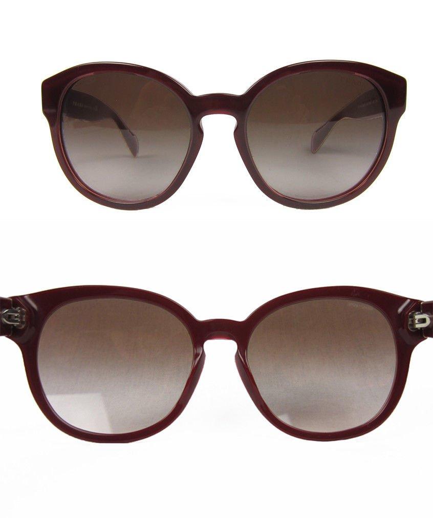 9f2b3ccb67460 Prada Opal Bordeaux Sunglasses Large Round Red Brown Gradient Keyhole