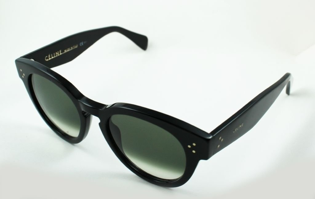 5e56bddc2118 Details about Celine CL 41049 S Thin Preppy Sunglasses 807-XM Keyhole Black  Green Round 52mm