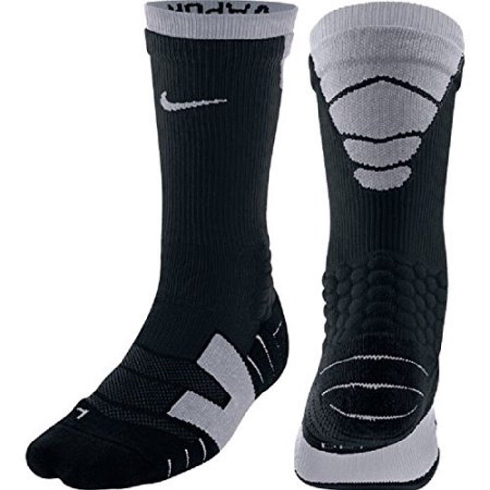 202939114e5f Details about Nike Elite Vapor Cushioned Athletic Football Crew Socks Black  and Gray Mens NWT