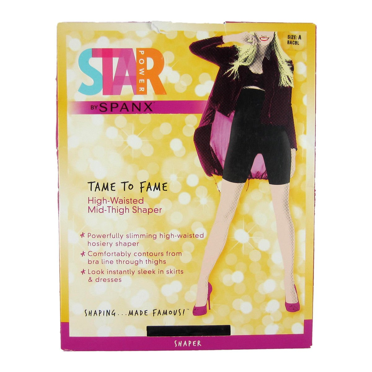 917db0ffde Details about NEW SPANX Star Power Tame to Fame High-Waisted Mid Thigh  Shaper Backdrop Black