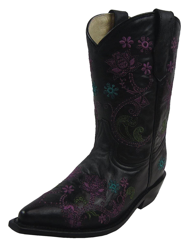 2d8273bafed Details about CORRAL Kids' Black Flower Vine Embroidery Snip Toe Cowboy  Boots G1153 (13 D(K)