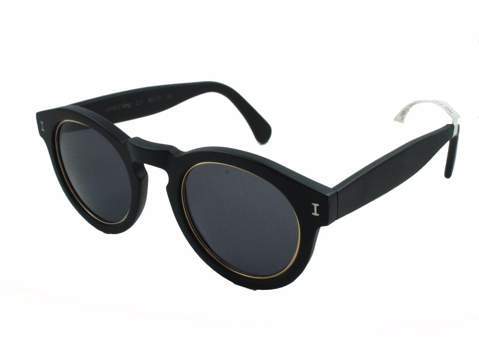b090be47a65 Illesteva Leonard Ring C.1 Sunglasses Black Matte Keyhole Round Gray Solid  Lens