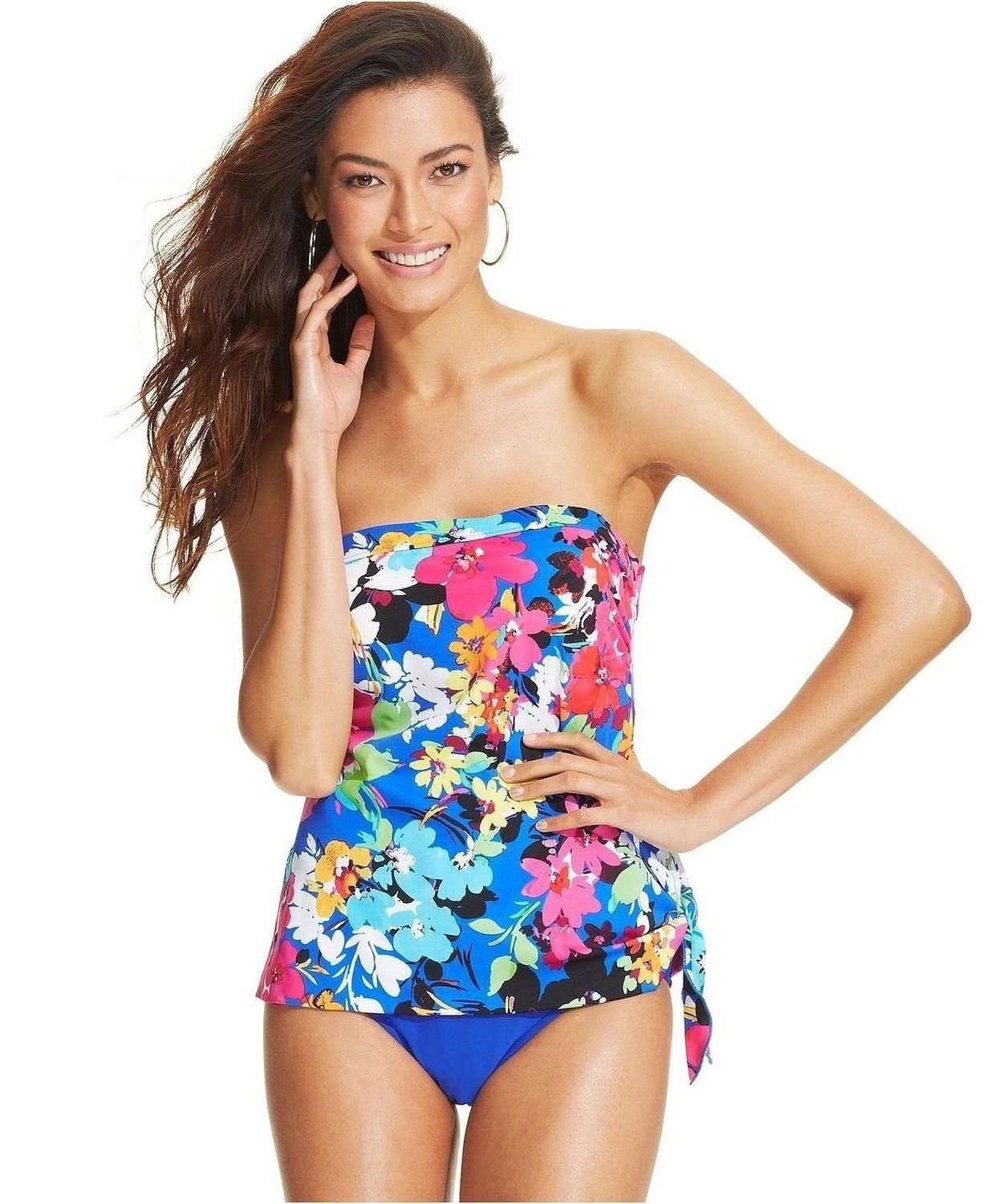 e76d7eede2aec Details about NWT Swim Solutions One Piece Swimsuit Floral Strapless Bathing  Suit Size 8 1