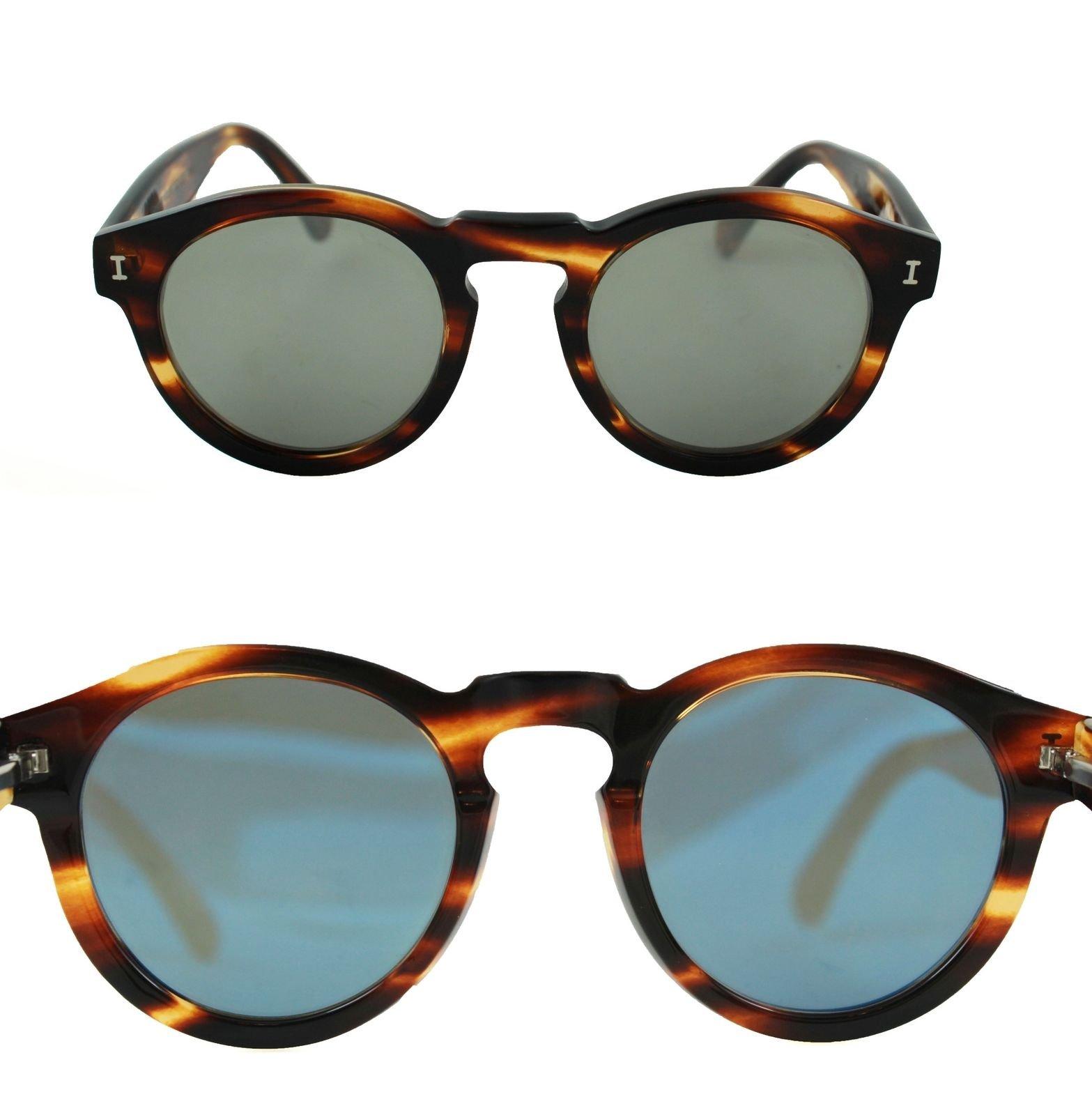 414edf9e485ed Illesteva Leonard C.29 Sunglasses Round Tortoise Frame Flat Gray Mirrored  Lenses