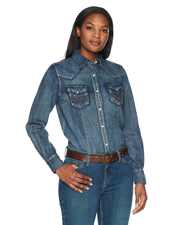 84001b17291 Wrangler Women s Long Sleeve Vintage Denim Shirt - Lw3039d Medium