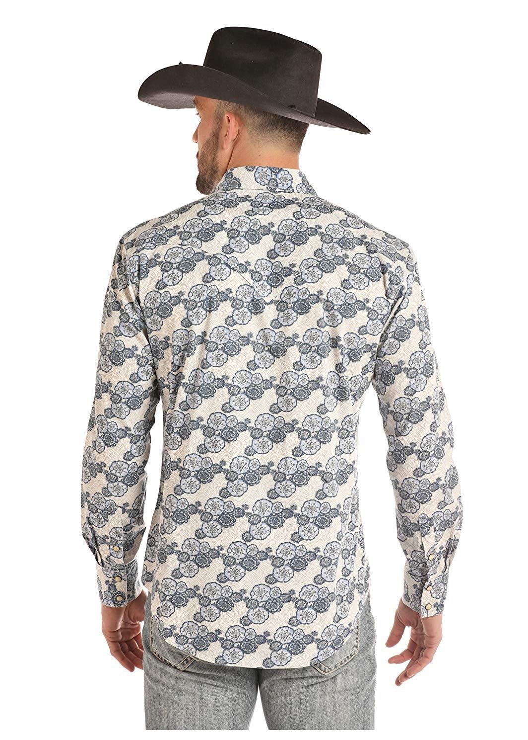 Rock And Roll Cowboy Floral Dot Poplin Snap Shirt Indigo