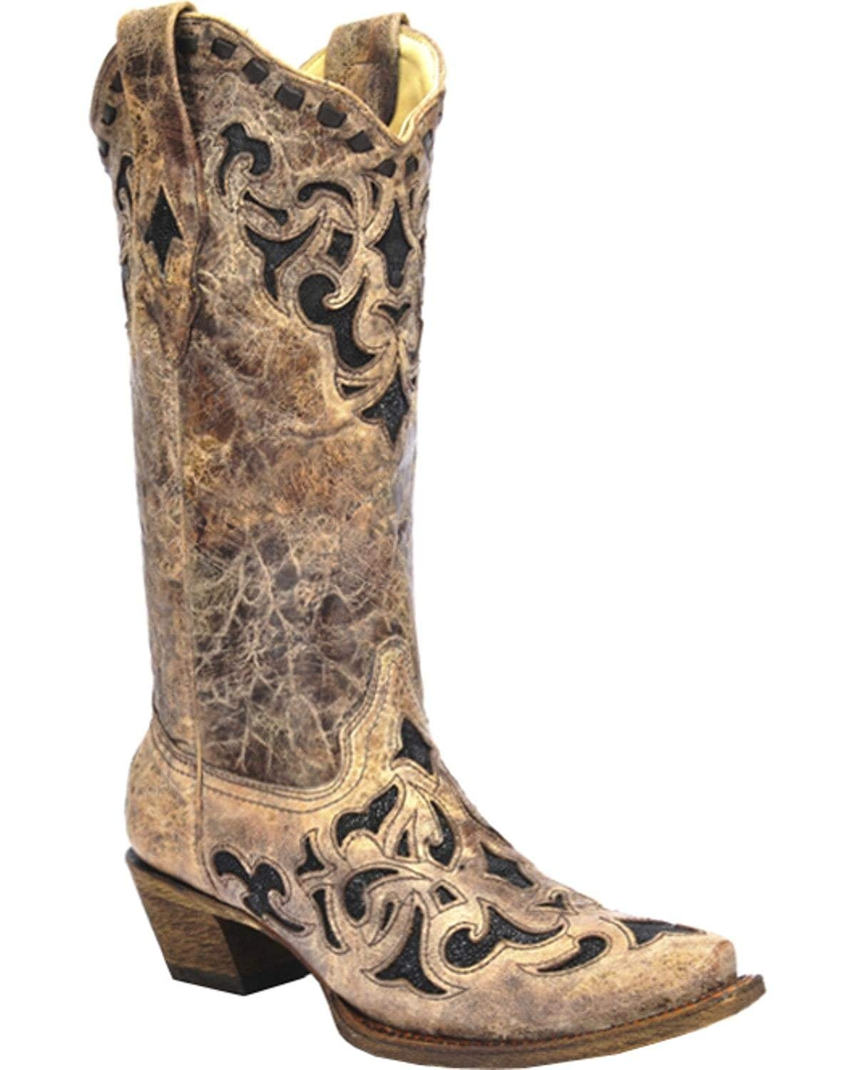 US CORRAL Womens Distressed Black Studded Embroidered Square Toe Cowgirl Boots R1365 8 B M