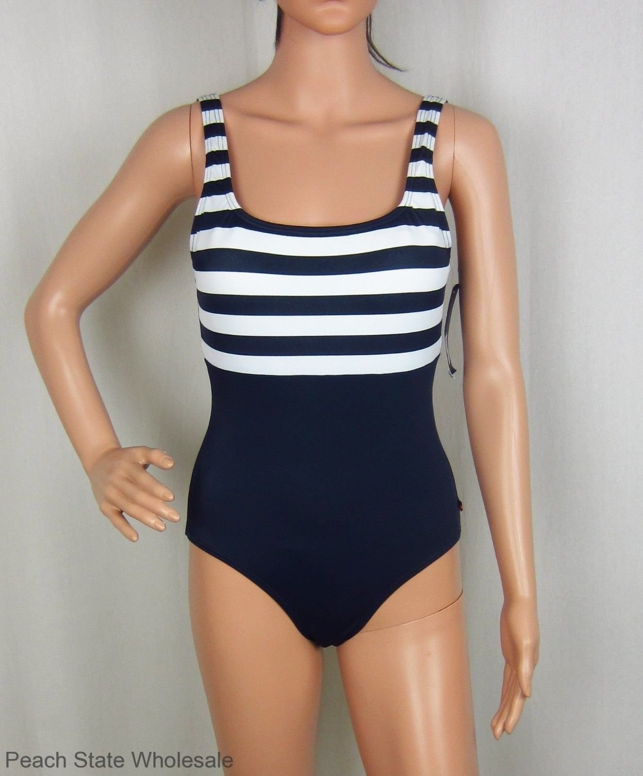 1677058abb468 NWT Tommy Hilfiger Navy Blue   White Stripe Scoop Back One-Piece Swimsuit  Size 6
