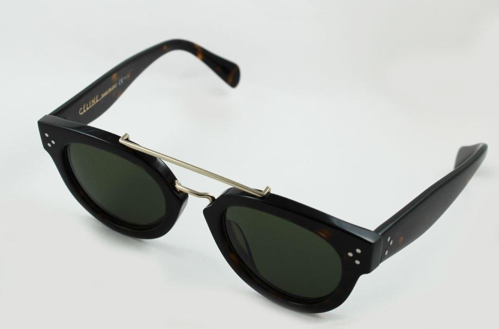 f34a337fcc Celine Pretty C 41043 S Round Sunglasses Dark Havana with Gold Frame Green  Lens