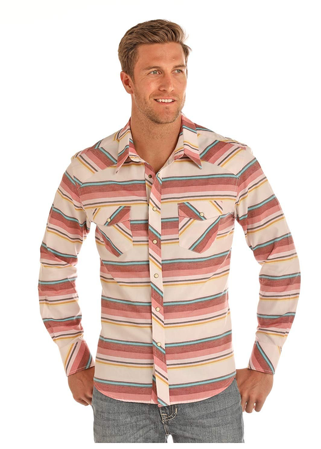 62fea9e5 Rock & Roll Cowboy Mens Enzyme Wash Striped Long Sleeve Western Snap Shirt  Large