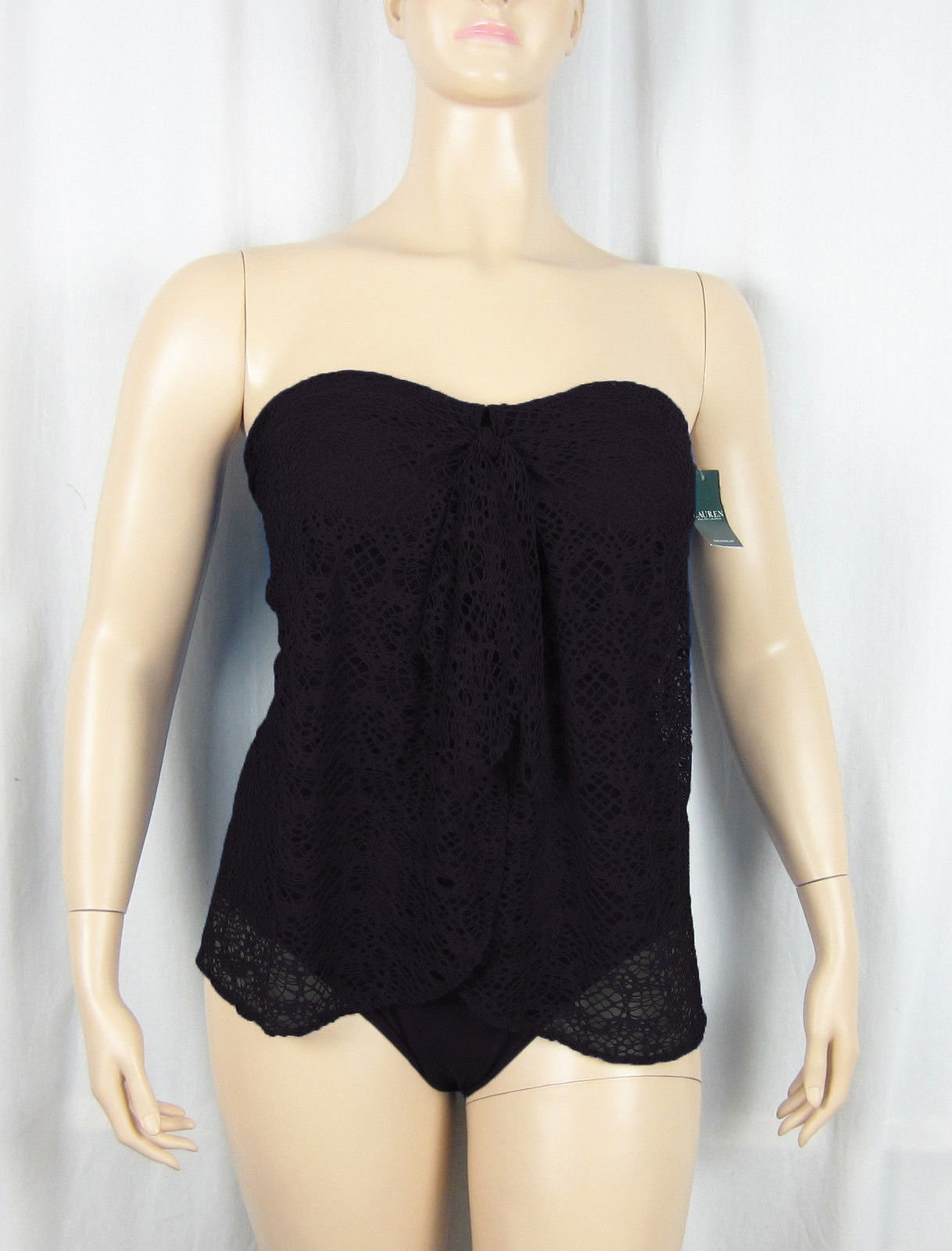 cb9ef646a0 NWT Ralph Lauren Crochet Flyaway One-Piece Halter Swimsuit Black Choose A  Size