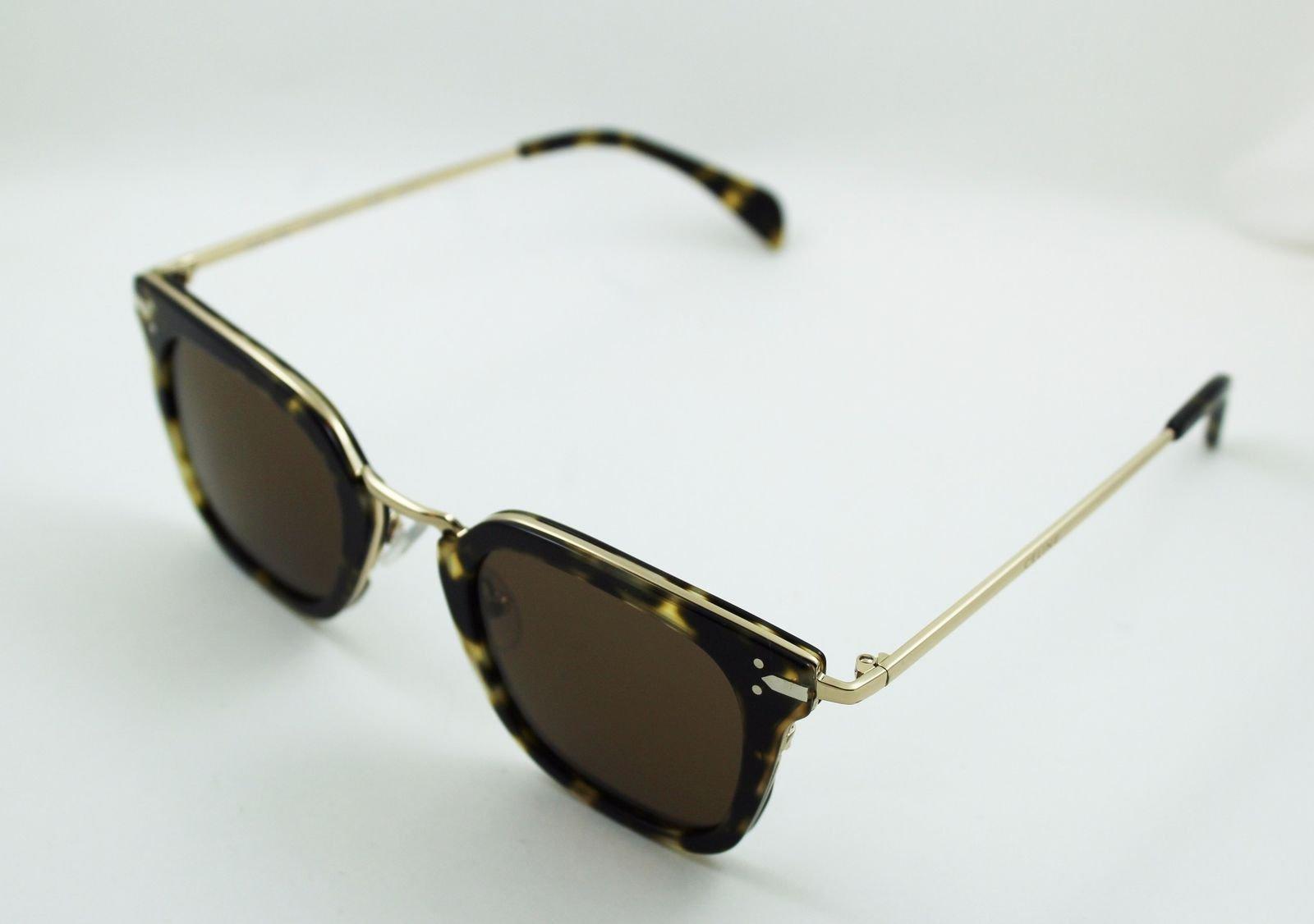 de5e79db38b2 Celine CL41402 s Square Sunglasses Gold and Havana Green Frame Solid Brown  Lens