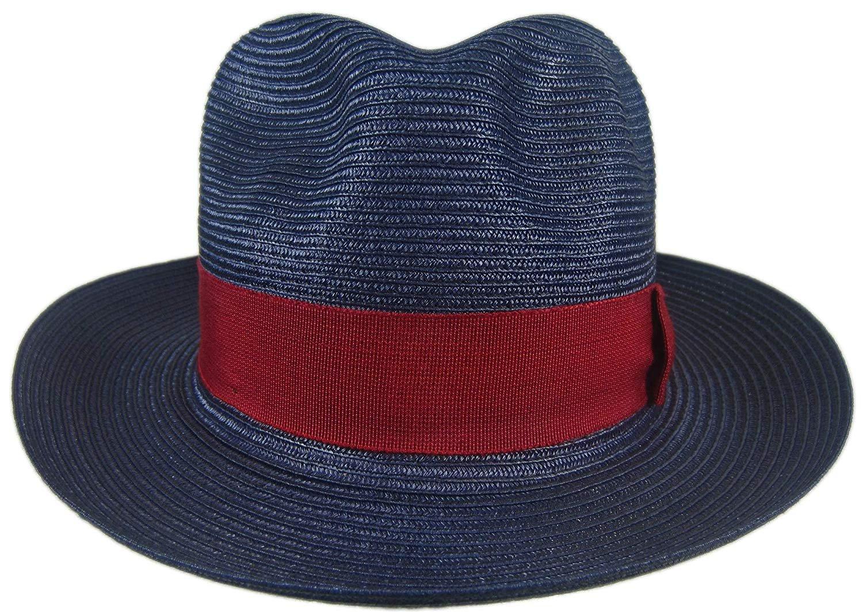 84114cadbdb6b Details about Stetson Renaissance Navy Soft Milan Straw Hat Fedora Size 7 1  8 R Oval 2 3 8
