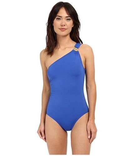 NEW Michael Kors One Shoulder Maillot Ruched One-Piece ...