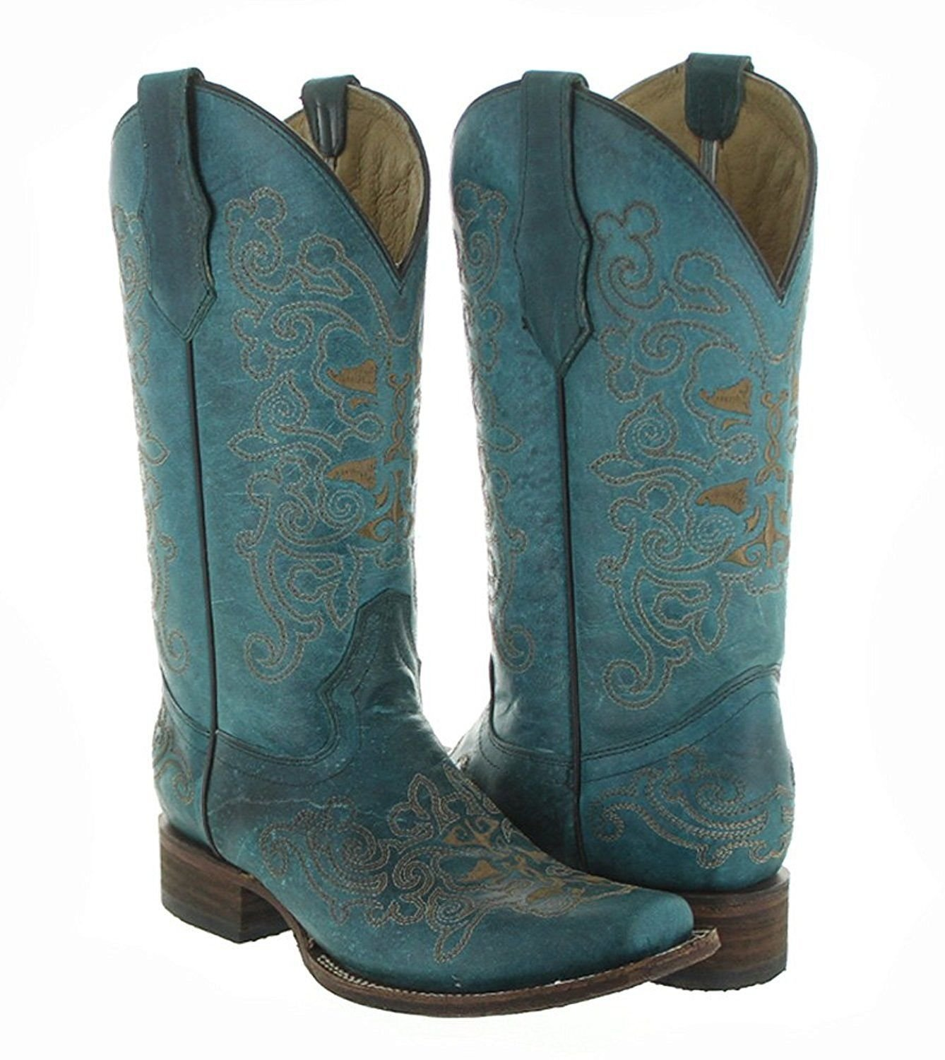 cfbae37a1f8 Details about Circle G by Corral Women's Turquoise Embroidered Square Toe  Cowgirl Boots L5135