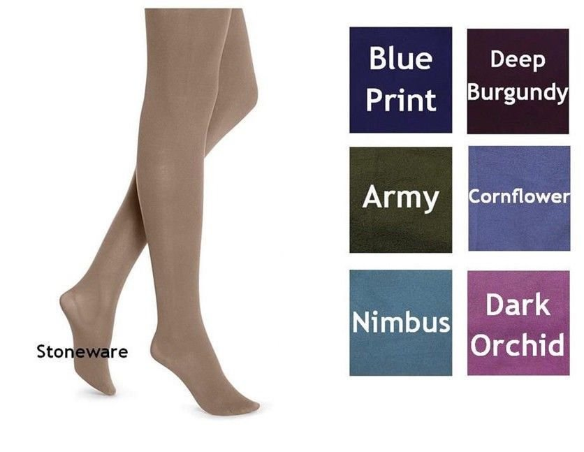 134754e7b Details about Womens HUE Opaque Tights Beige Blue Army Green Burgundy  Purple Cornflower Size 1