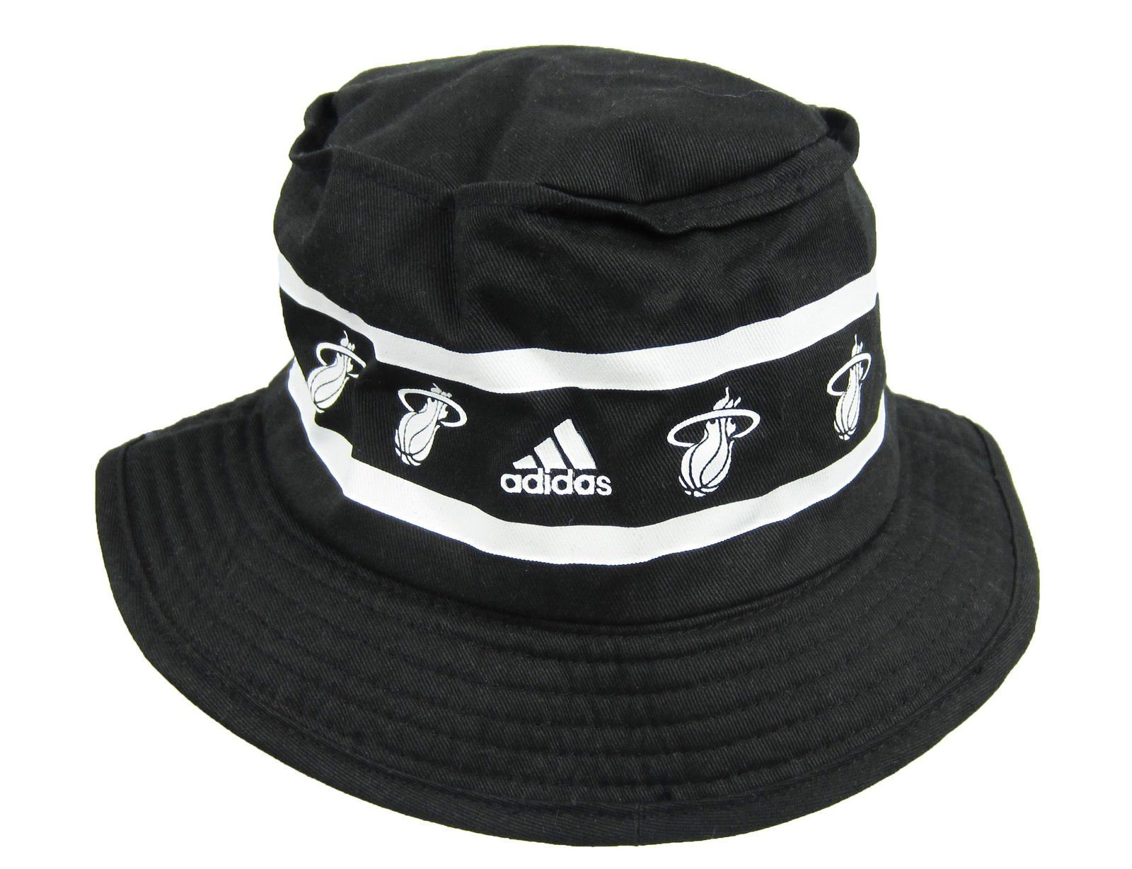 fc9e57fcf46 Adidas NBA Miami Heat Size Small Bucket Hat Black And White. Product Details