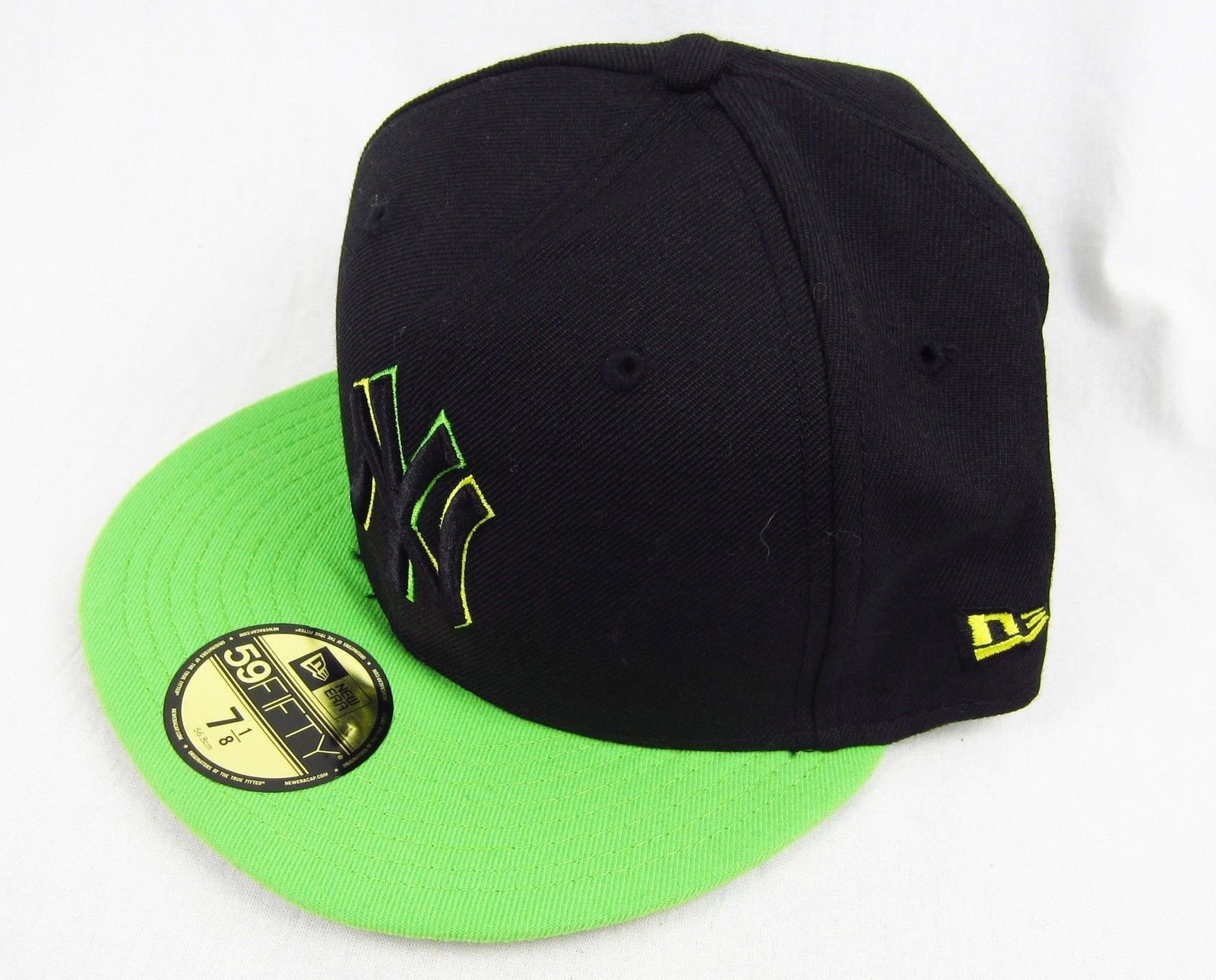 New Era 59Fifty 7 1 8 New York Yankees Hat Black Neon 56.8cm Lana Polyester  MLB 470af13439d