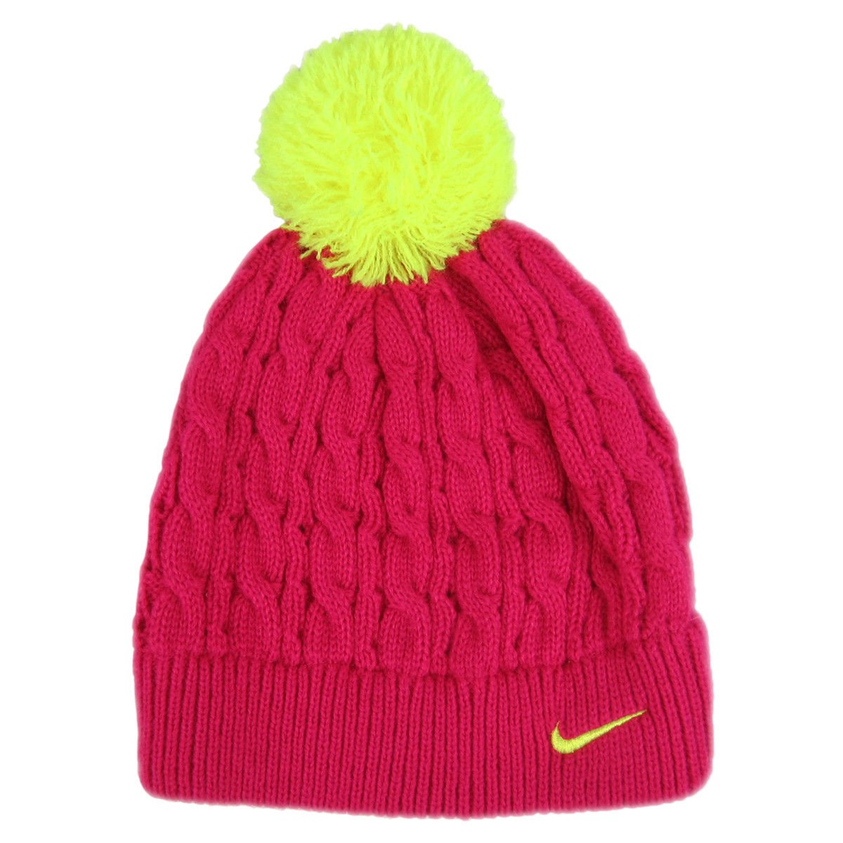 Details about NEW WITHOUT TAGS Nike Girl s Cable Knit Beanie 4 6x Pink  Yellow Swoosh DEFECT ec855a18818