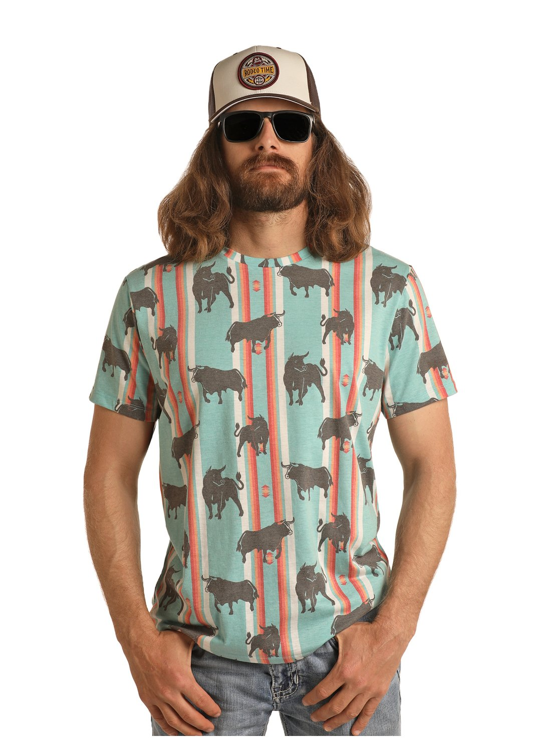 Rock and Roll Cowboy Mens Dale Brisby Bull Serape Tee