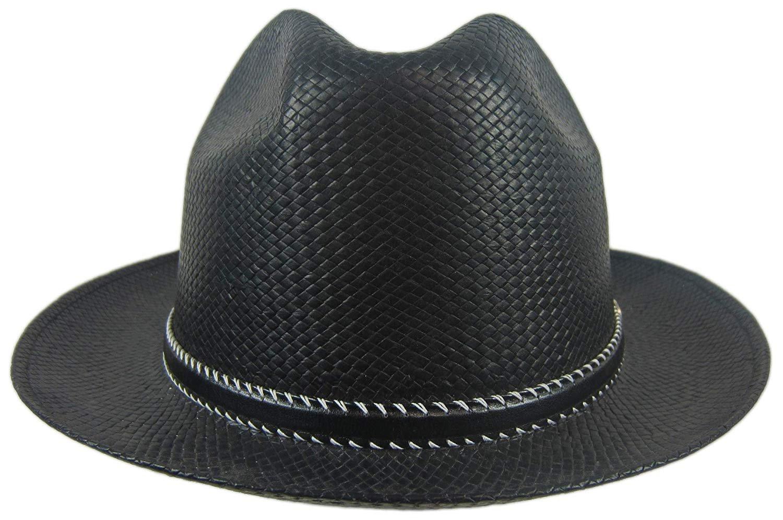 3af23196aceff Stetson Black Straw Hat Fedora Size Large 719280502844