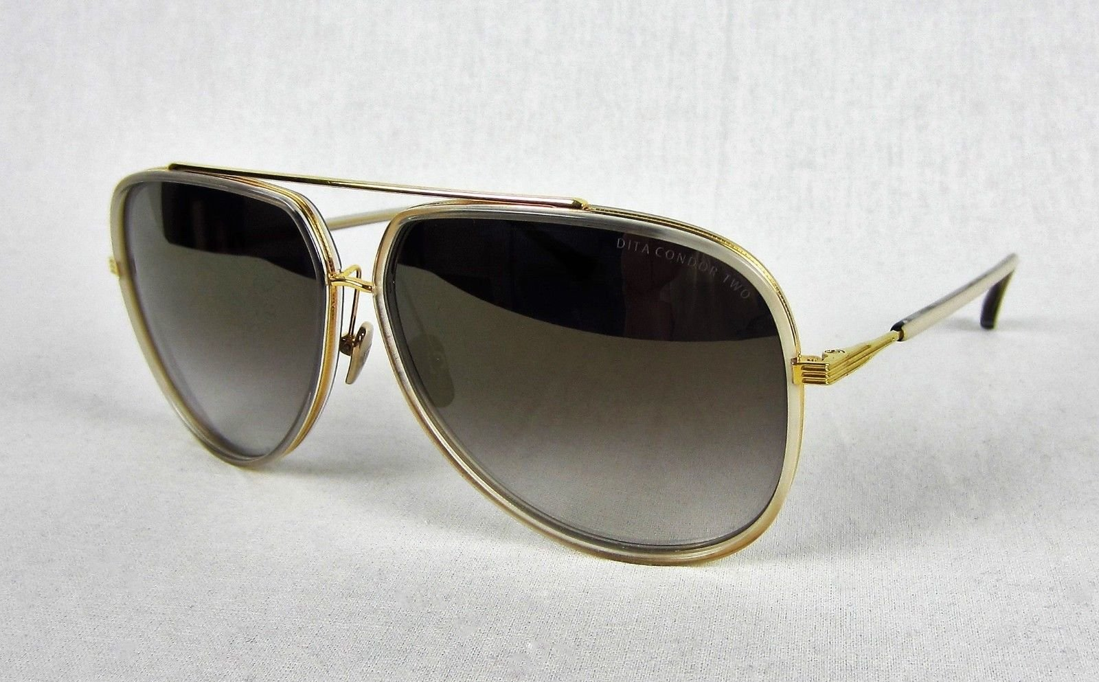c026fc6242a6 Details about Dita Condor Two 2 Sunglasses Aviator 18K Gold Cream Grey  Flash Mirrored Lenses