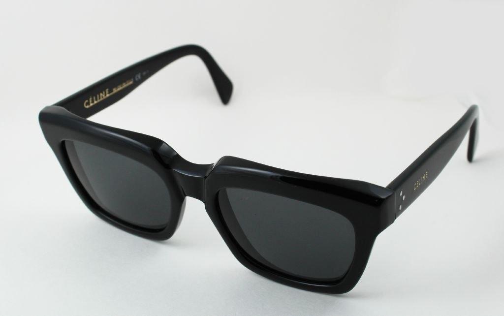 dd4c73af6a8 Details about Celine CL 41023 S Thick Rim Traveller Sunglasses Black 807BN  Square Brown Lens