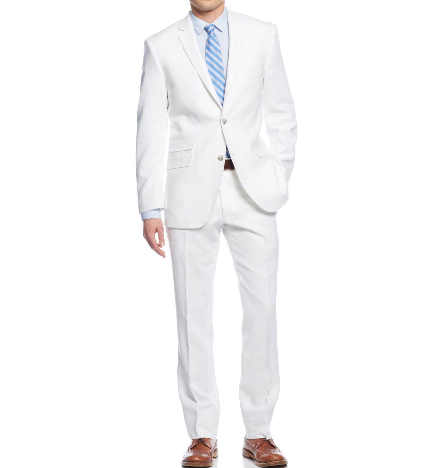 7351de96ccea NWT Perry Ellis Portfolio Men's 2 Piece Slim Fit Linen Suit Jacket 50L Pant  45
