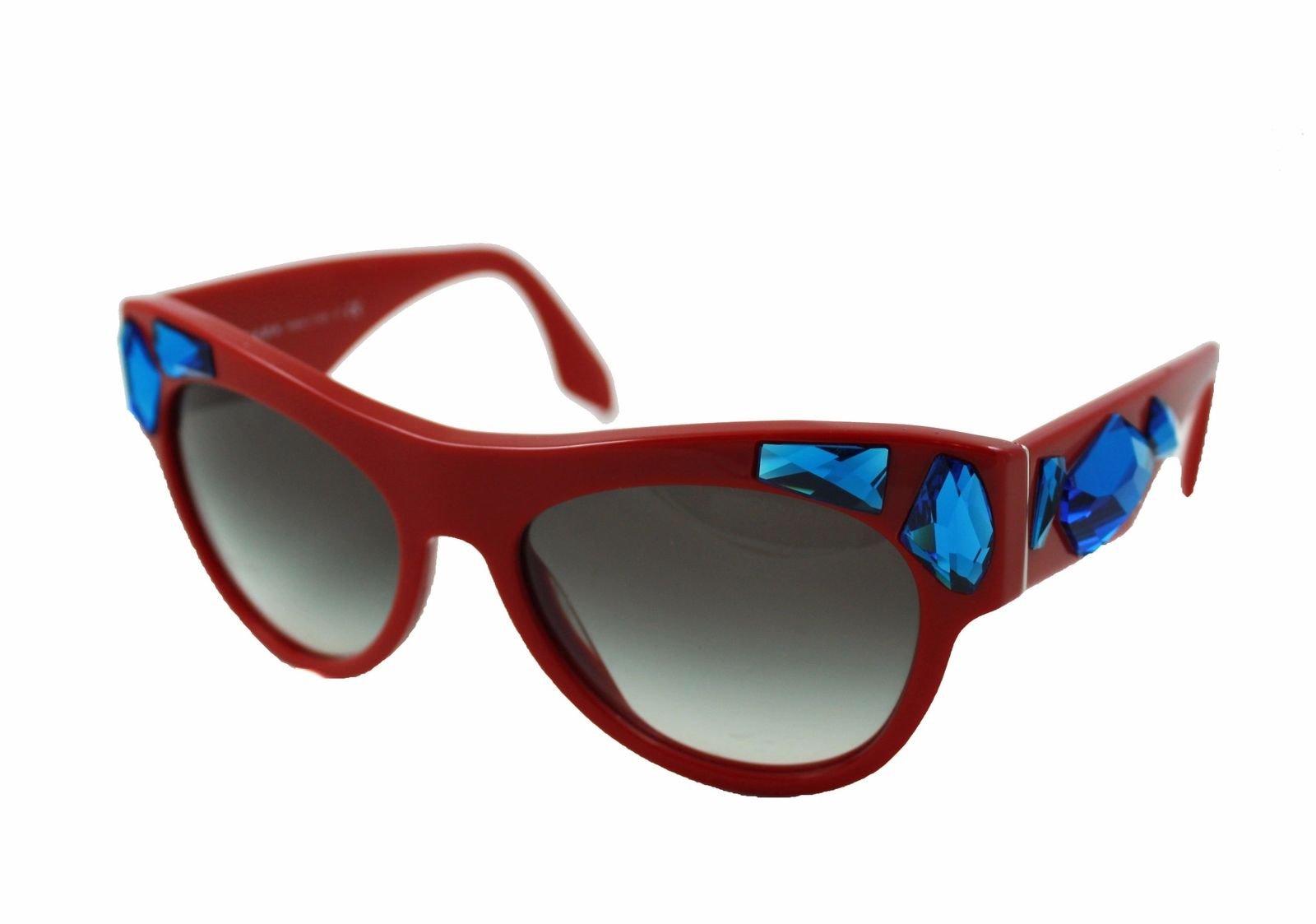 d25444d67454d Prada SPR 22Q Sunglasses Pilot Red with Blue Gems Frames Gray Gradient  Lenses