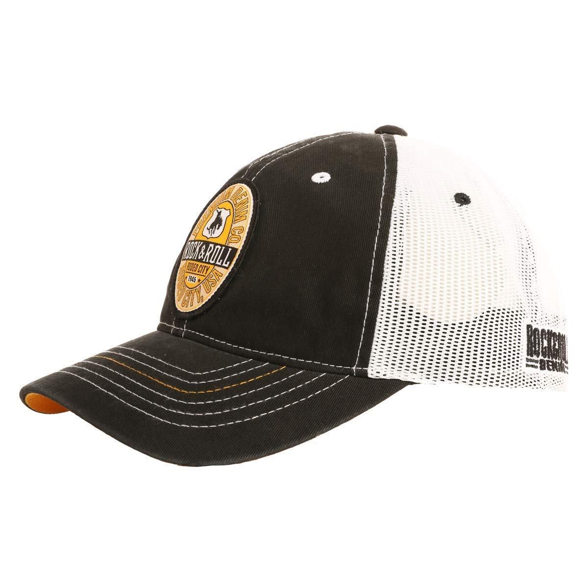 5edbf1bd289 Rock   Roll Denim Mesh Snapback Gold Contrast and Woven Patch Trucker Hat -.