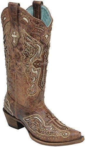 Corral Ladies Cognac//Bone Inlay Cross /& Studs Square Toe Boot C2856   SALE!!!