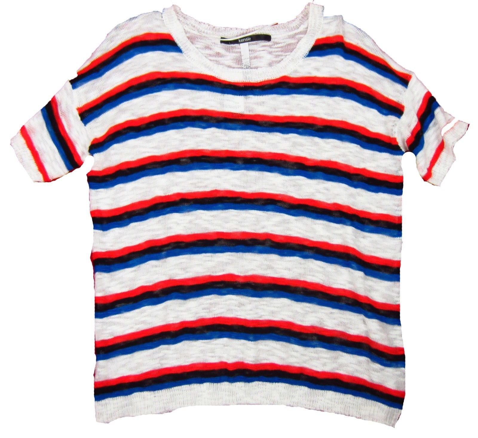 08056a6dee Womens Kensie Short Sleeve Shirt Red White Blue Striped Top Size M ...