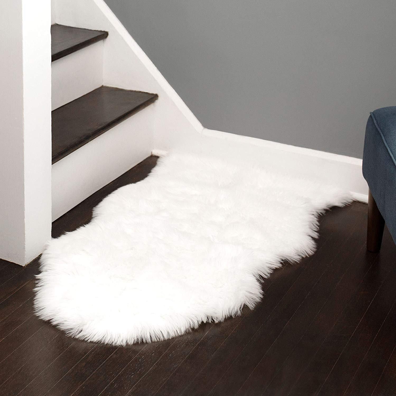 Silky Super Soft White Faux Sheepskin Shag Rug Faux Fur