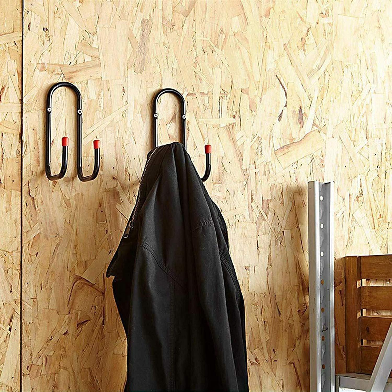 2x Heavy Duty Metal Wall Mount Garage Storage Double J Utility Bike Hooks Hanger