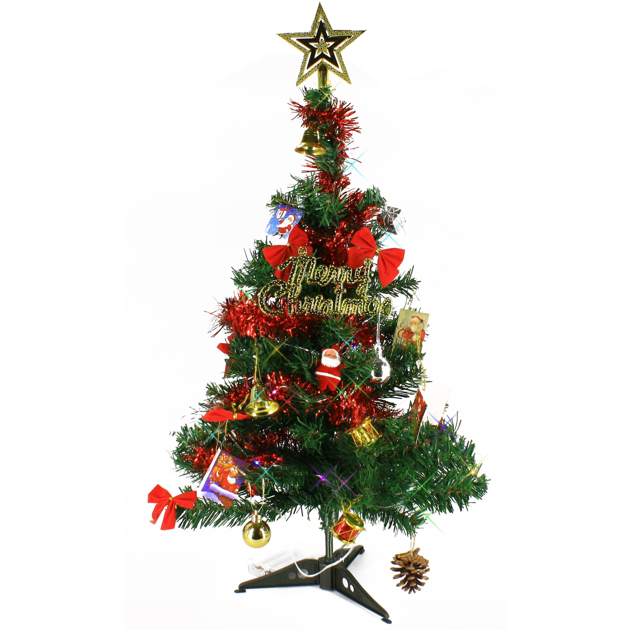 Tabletop Christmas Tree.Details About 2 Ft Artificial Mini Tabletop Christmas Tree Green With Multi Color Led Light