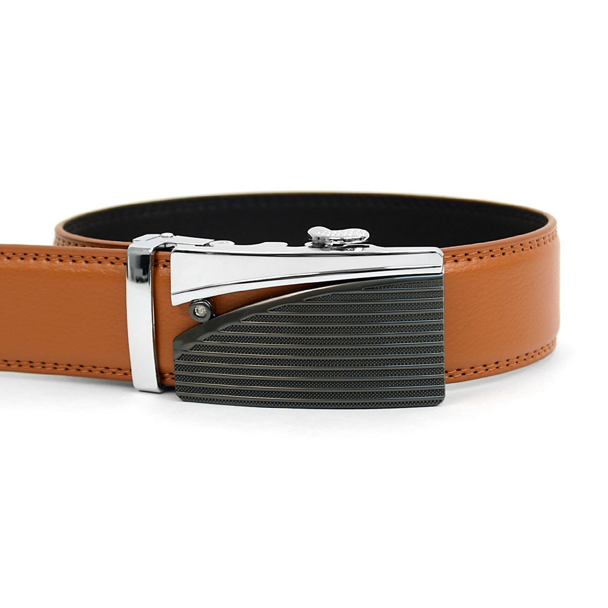 Men/'s Auto Lock Buckle Genuine Leather Waist Strap Dress Ratchet Belt Holeless