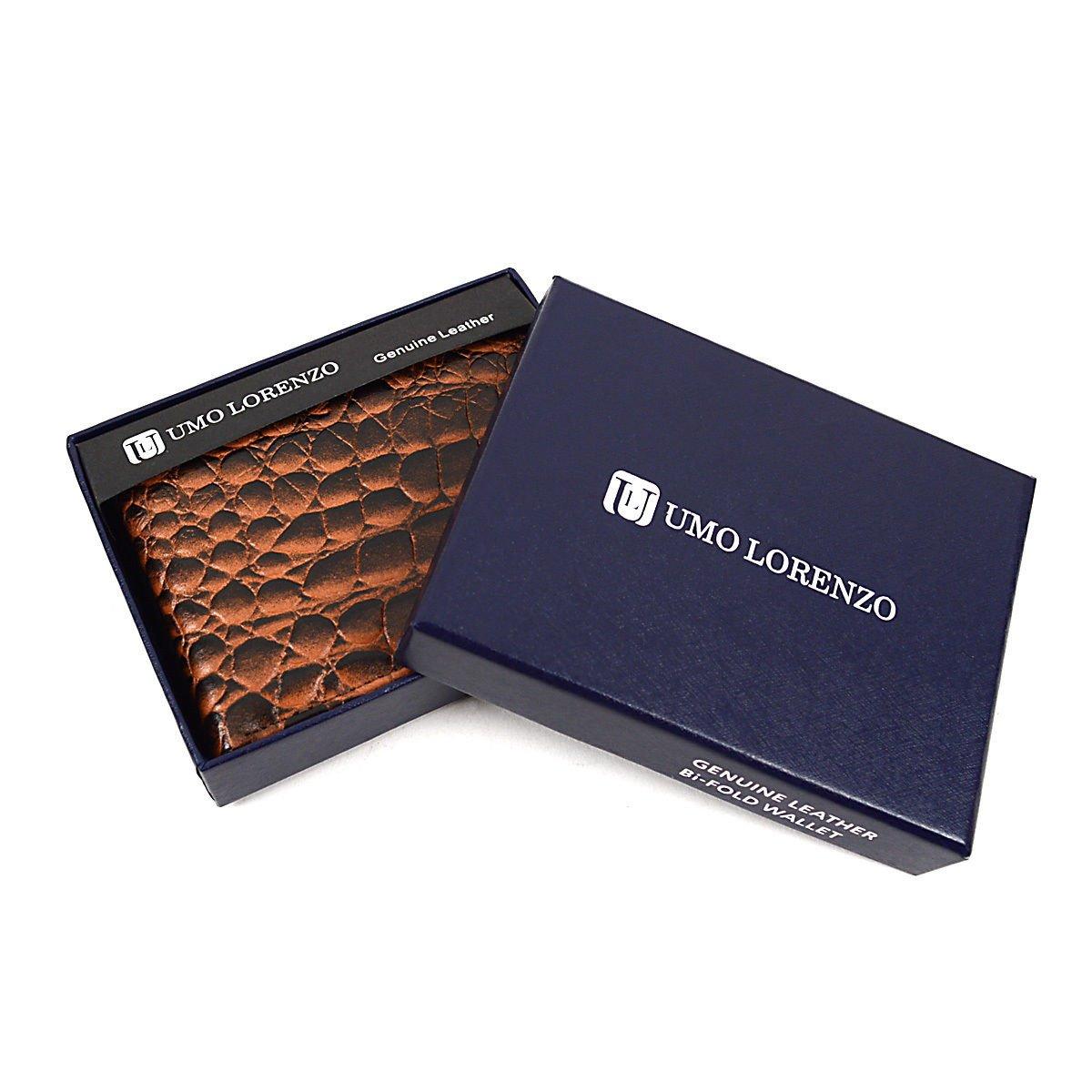 Men S Genuine Leather Crocodile Design Bi Fold Wallet